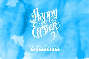 Happy Easter! Watercolor blue