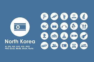 North Korea simple icons