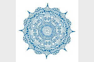 Blue geometric mandala