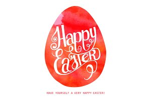 Happy Easter! Watercolor red