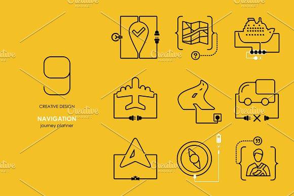 Navigation: connection flat design