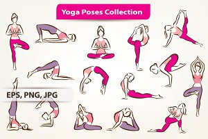 Yoga Poses Symbols Collection