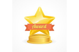 Gold Star Award. Vector
