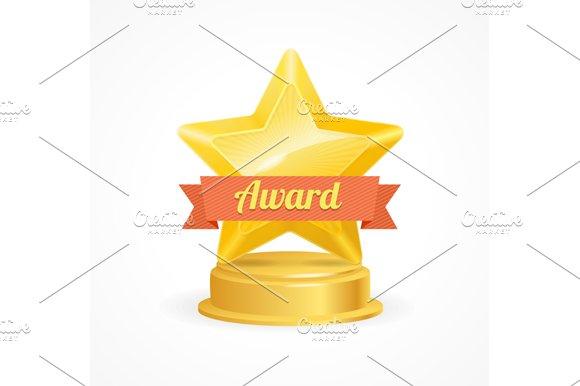 Gold Star Award. Vector - Objects