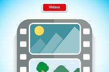 Video App Icon Flat Style Design