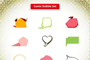 Comic Bubble Set Icon Pop Art Style