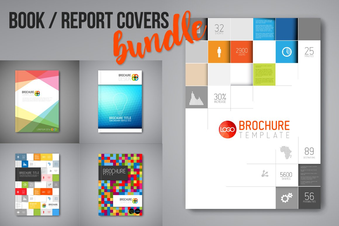 Report / book / brochure cover set ~ Brochure Templates ~ Creative ...