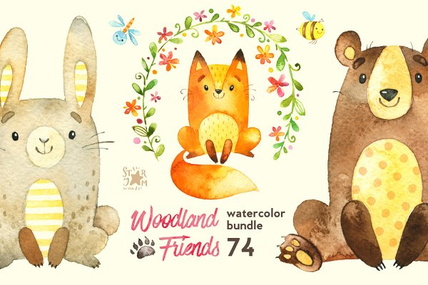 Woodland Friends. Watercolor bundle