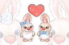 Cartoon rabbits/ watercolor/ 03