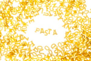 "Pasta background with word ""pasta"""