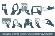 Hands holding credit card, smartphon