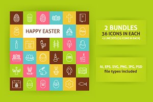 Happy Easter Line Art Icons