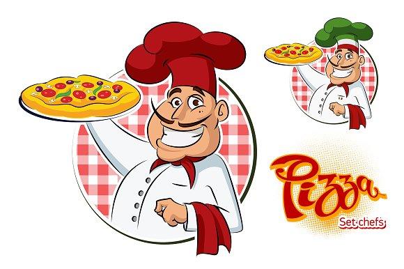 Cook Pizza. Set - Illustrations