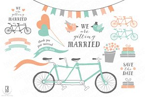 Tandem bicycle, wedding, mint coral