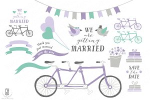 Tandem bicycle, wedding, lavender