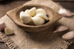 garlic in rustic style