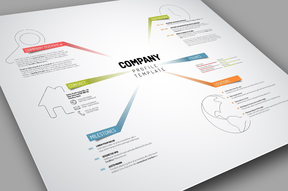 Company profile template presentation templates creative market vector company profile template cheaphphosting Images