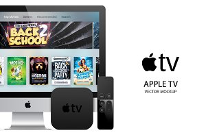 Apple TV 4 (2015) Vector MockUp(PSD)