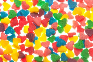 Sweet colorful candy hearts backgrou