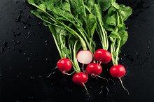 Fresh red radishes