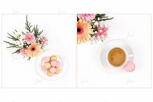Coffee macaron flower mockup