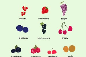 Hand drawn berries clip art set