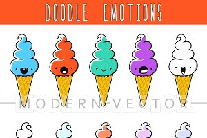 Set 10 colored doodle ice cream