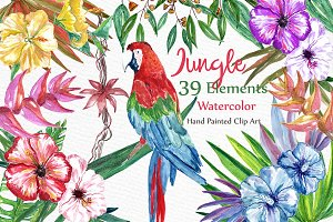 Watercolor Jungle clipart