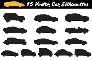 15 Car Silhouettes - Vector