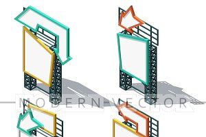 Set 4 detailed billboards isometry