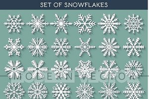 Set 36 snowflakes hand drawn