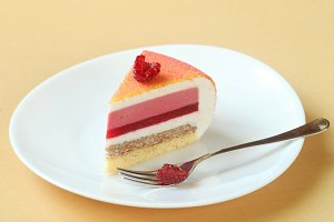 Piece of Layered Mousse Cake