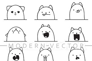 Set 12 doodle emotions cats
