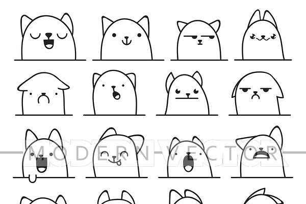 Set 20 doodle emotions cats