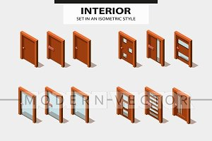 Set isometric modern doors
