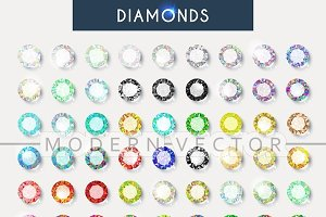 Set 60 realistic diamonds. Crystals