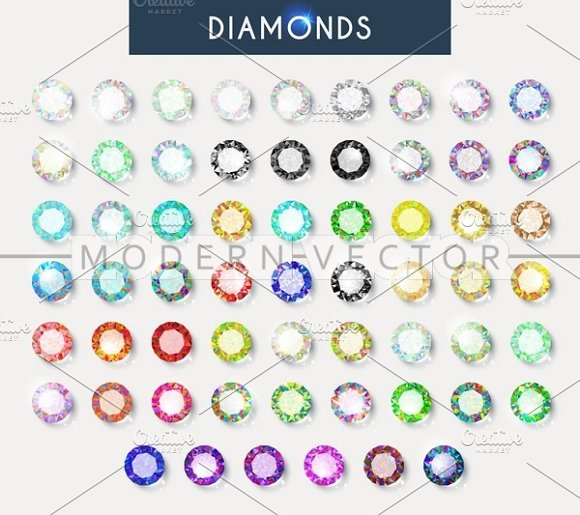 Set 60 realistic diamonds. Crystals - Objects