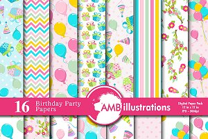 Birthday Digital Papers AMB-1188