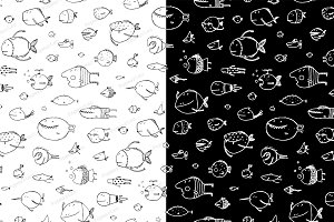 Cartoon Seamless Pattern Funny Fish