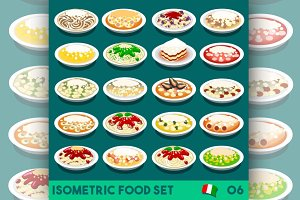 Pasta Set Food Isometric
