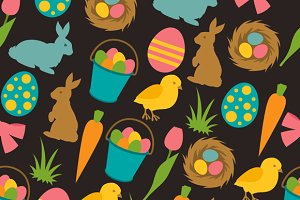 Happy Easter seamless patterns.
