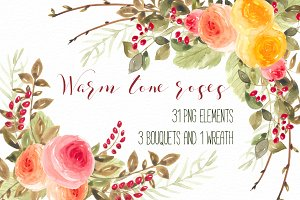 Warm tone roses Set RB-07