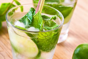 Mojito drink cocktail on the table