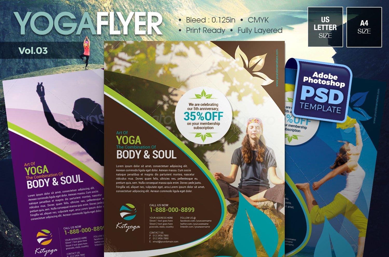 Yoga Flyer Vol03 Flyer Templates Creative Market