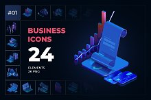 3D Business icons collection #01 by  in Graphics
