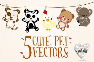 5 Cute Pet Vectors