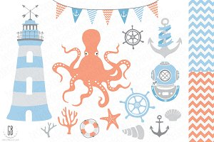 Nautical vector clip art, lighthouse