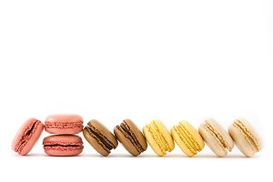 Colorful macarons isolated