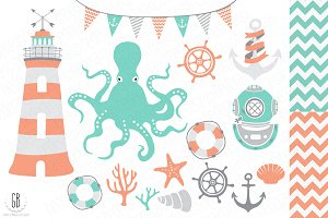 Nautical vector clip art, octopus