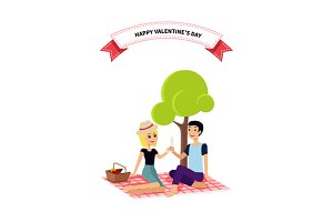 Valentine Day Couple Sitting on Park